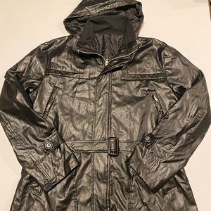 Ladies black pleather jacket size 10/12 Approx